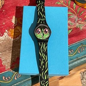 SWATCH - Green and Black cat watch